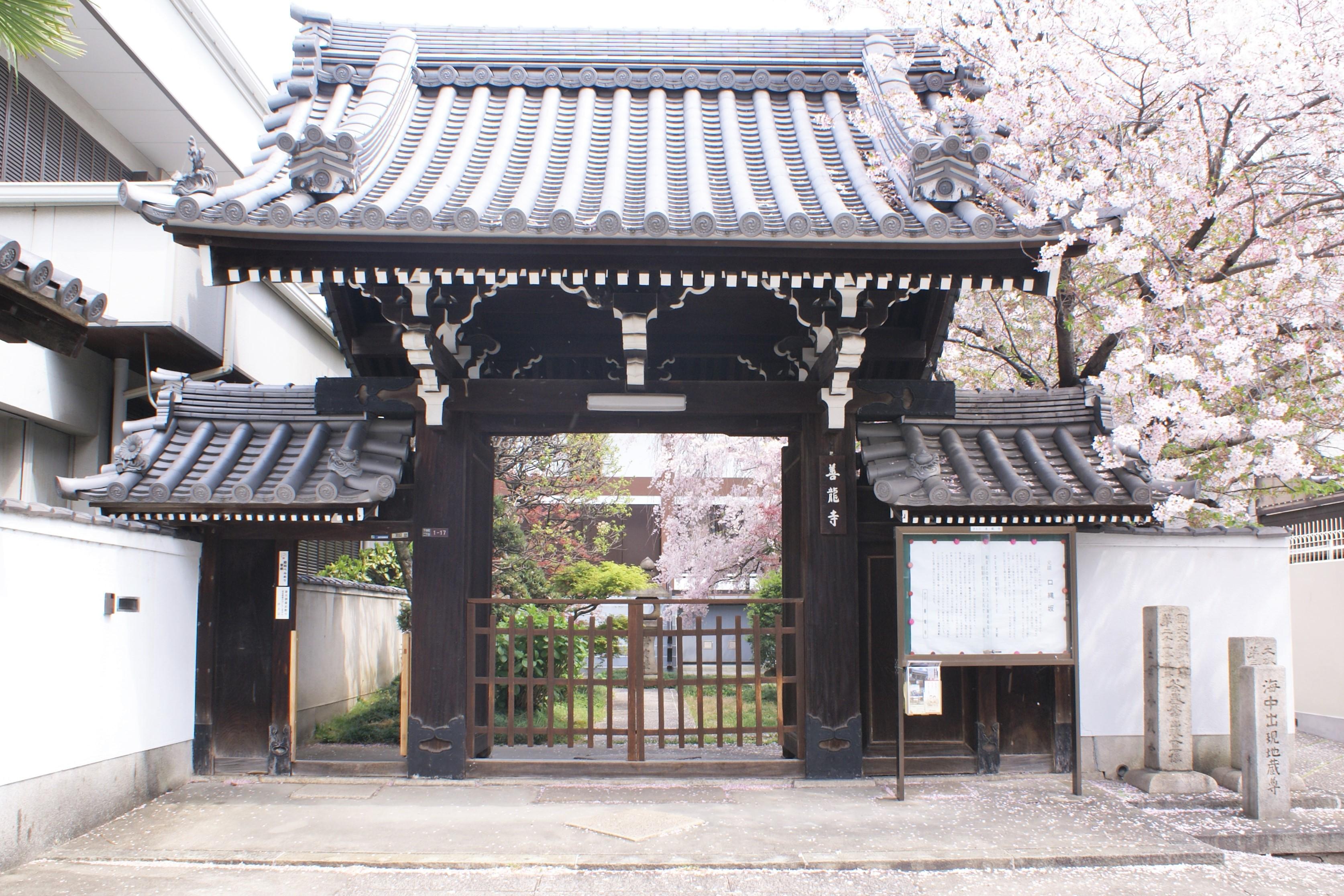<p>薬医門形式的山門正面</p>開間2.7m的薬医門形式,懸山本瓦頂,左右設置帯有小門的附垣。薬医門是在二根門柱的後方有二根控柱,屋頂為懸山,是近世的代表性的門。