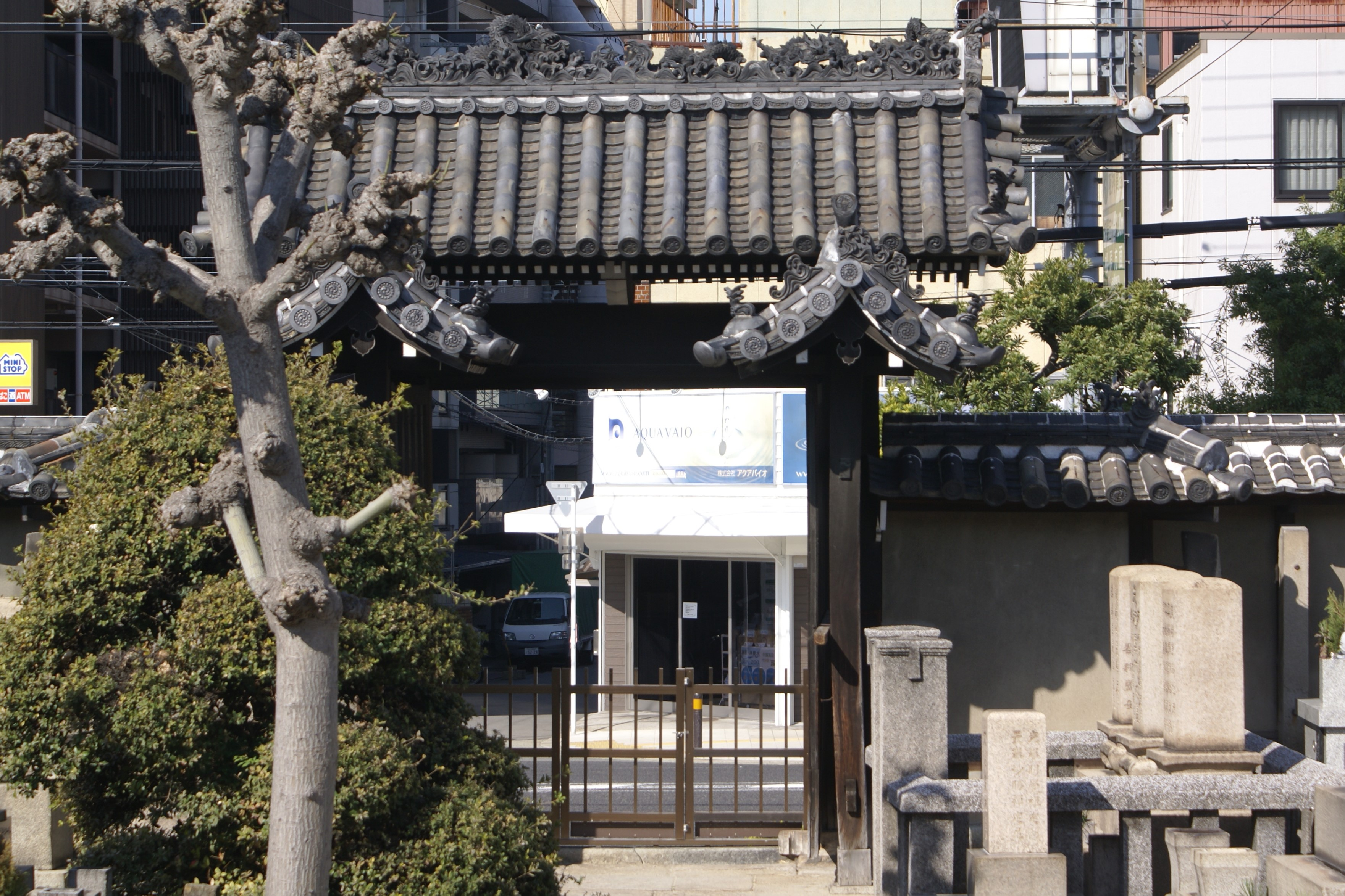 <p>境内内部から山門を見る</p>高麗門は、2本の本柱に切妻の屋根をのせ、それぞれ対となる本柱と控柱の間にも小さい切妻の屋根をのせた門である。<br />