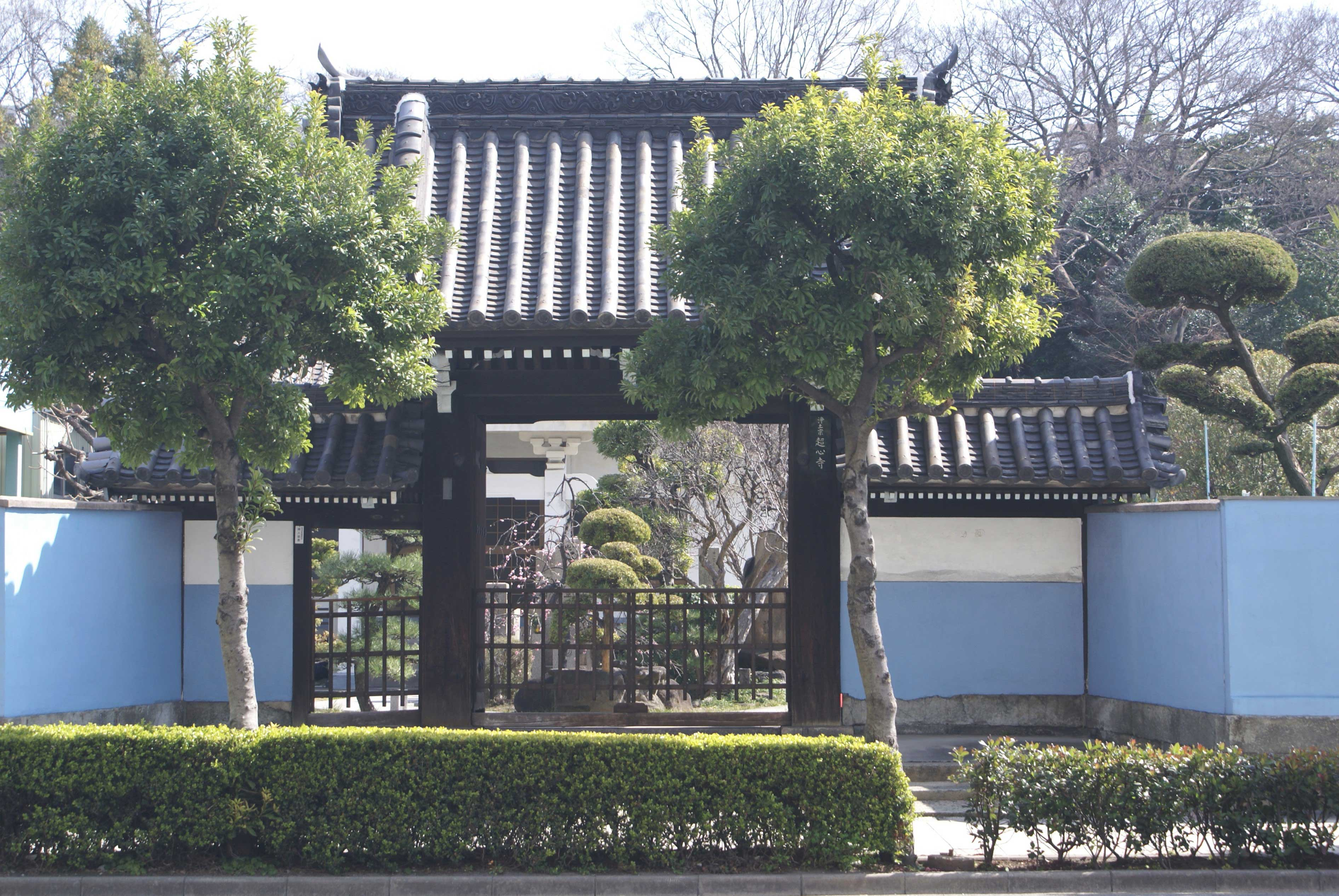<p>薬医門形式の山門正面</p>間口3.1mの一間薬医門で、切妻造本瓦葺とし、袖塀を両脇に付け、左手に潜戸がある。