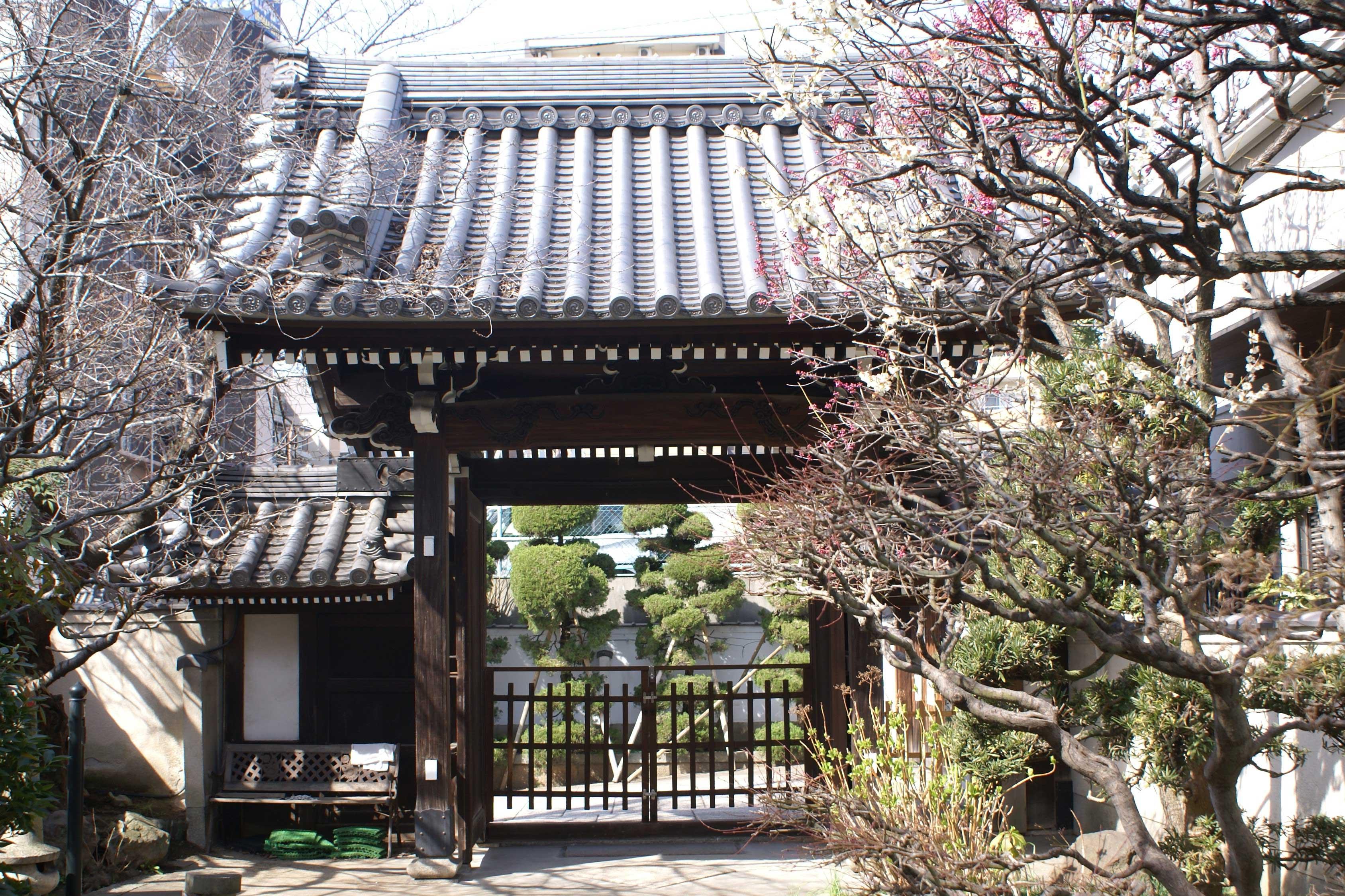 <p>由境内看山門。</p>善龍寺於慶長7年(1602)僧宗林開創。因受戦災只留下山門,其他全焼了。原来是在松屋町筋沿街,昭和47年再建時搬到此地。境内的櫻花樹和「海中出現地蔵尊」是有名的。