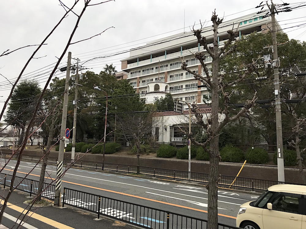 <p>白塔、病棟(北)</p>北側道路向かい側から見る