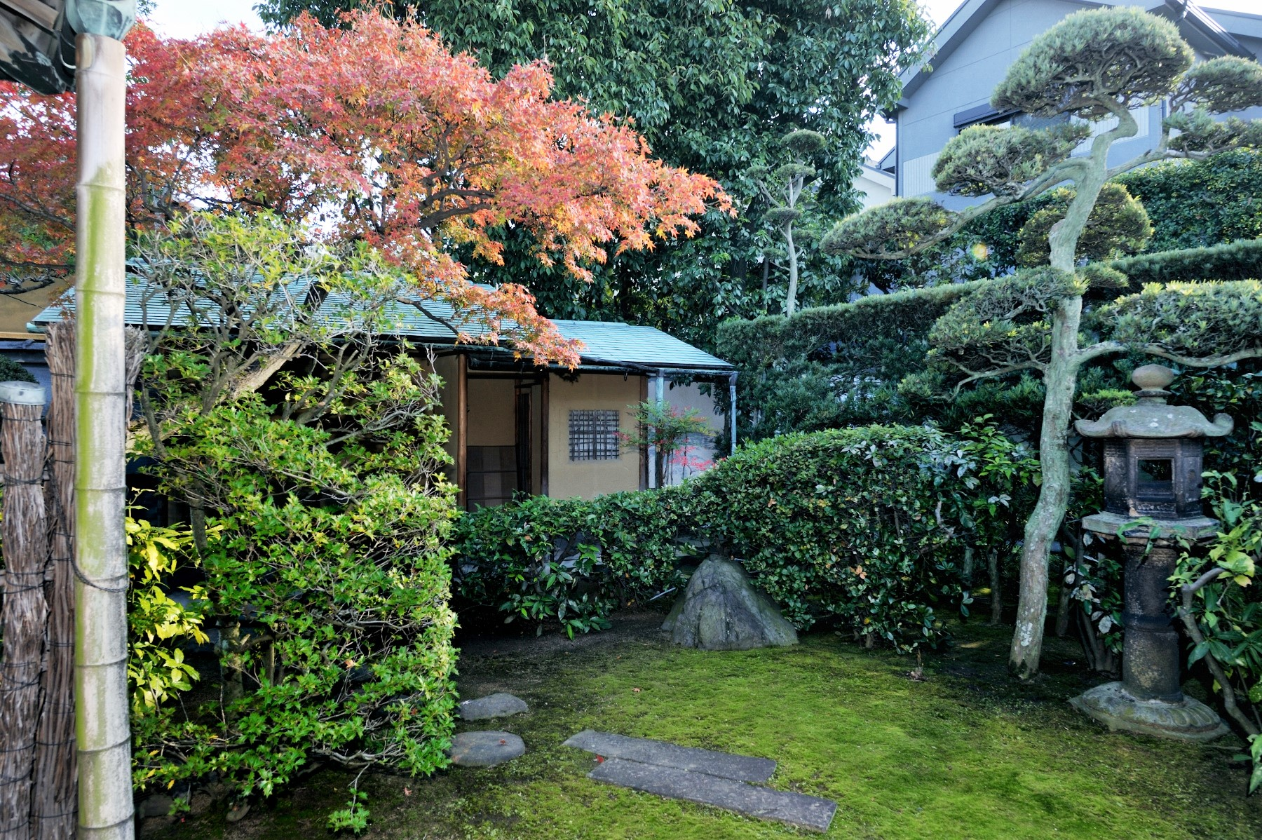 <p>庭と腰掛待合</p>主屋南東側の塀沿いに建つ。招屋根の銅板葺で、雪隠を落棟とする。腰掛部の壁は土壁、柱は丸太材である。
